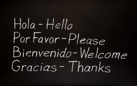 bienvenido: Blackboard with spanish words and their english translations.