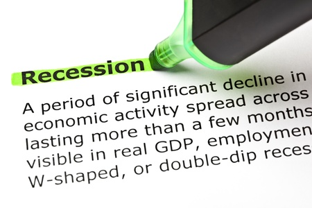 felt tip: Recession highlighted in green with felt tip pen Stock Photo