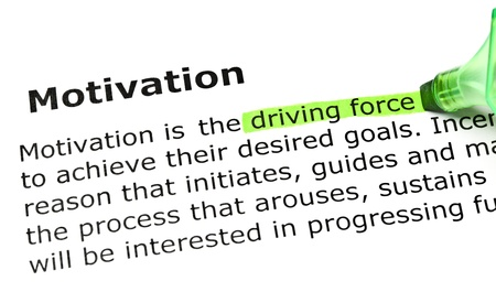 instigation: Driving force highlighted in green, under the heading Motivation Stock Photo