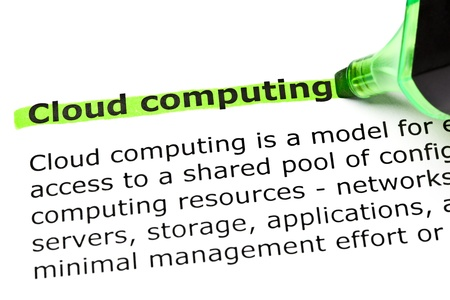 green computing: Cloud computing highlighted in green with felt tip pen Stock Photo