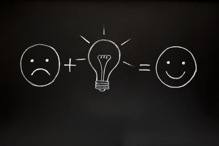One good idea can change everything! Creativity concept, illustrated with chalk on a blackboard. photo