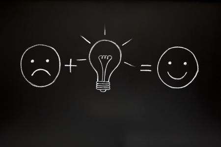 cara triste: Una buena idea puede cambiar todo! Concepto de creatividad, ilustrado con tiza en una pizarra.