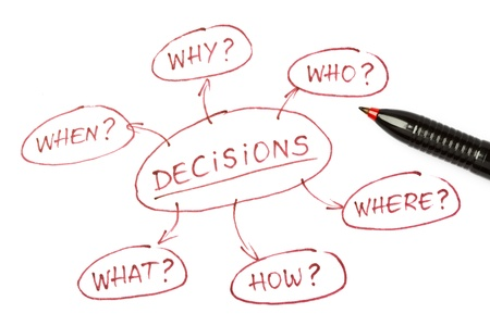 red pen: Top view of a Decisions chart with red pen on paper. Stock Photo