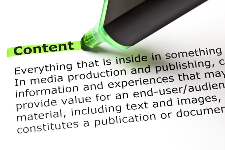 publish: The word CONTENT highlighted in green with felt tip pen