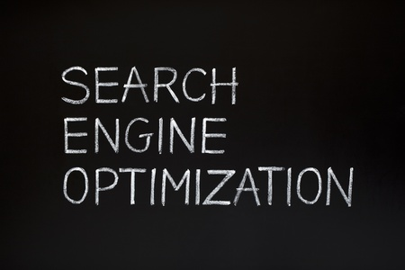 keywords link: SEARCH ENGINE OPTIMIZATION made with white chalk on a blackboard