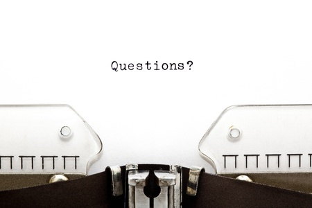 controversy: Questions? printed on an old typewriter  Stock Photo