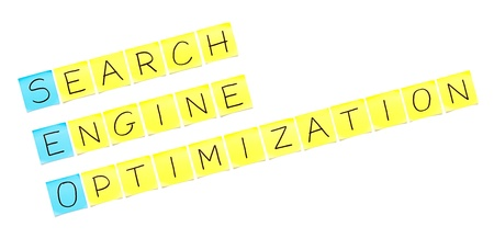 backlink: SEO crossword made with sticky notes on white background