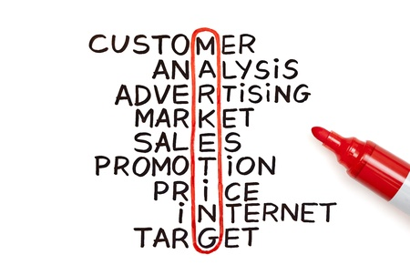 The word Marketing highlighted with red marker in a handwritten chart  photo