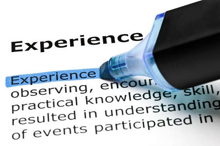 definition define: The word Experience highlighted in blue with felt tip pen