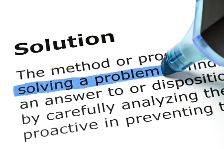 preventing: Solving a problem highlighted in blue under the heading Solution Stock Photo