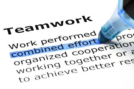 contrato de trabajo: Esfuerzo combinado en azul, bajo el t�tulo El trabajo en equipo