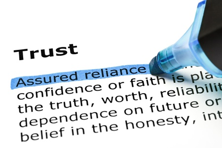 assured: Assured reliance highlighted in blue, under the heading Trust Stock Photo