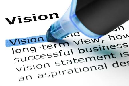 Het woord Vision gemarkeerd in blauw met viltstift