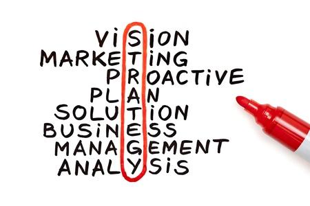 strategy: La estrategia de palabra resaltada con marcador rojo en un gr�fico a mano Foto de archivo