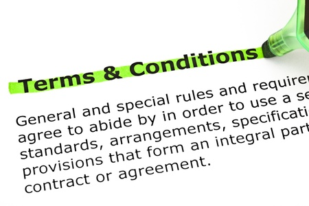 conditions: Dictionary definition of Terms and Conditions, highlighted with green marker.