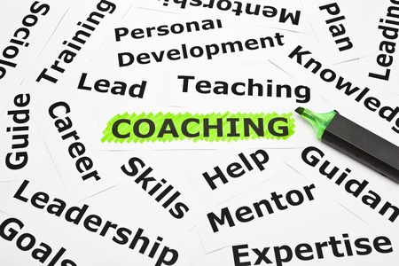 Coaching highlighted with green felt tip pen, with other related words. Stock Photo - 14805808