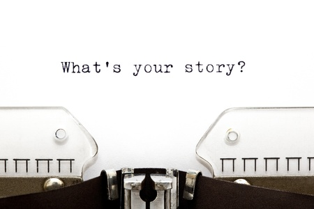 stories: Concept image with What is Your Story printed on an old typewriter Stock Photo
