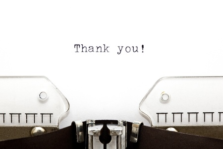 thank you note: Thank You printed on an old typewriter as a headline of a letter Stock Photo