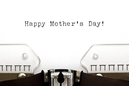 Happy Mothers Day greeting printed on an old typewriter photo