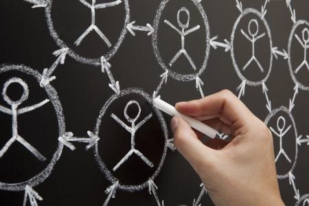 interaccion social: Manos que muestran el concepto de red social hecha con tiza blanca sobre una pizarra