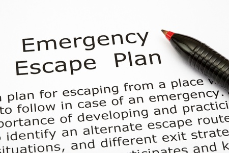 evacuatie: Emergency Escape Plan met rode pen Stockfoto