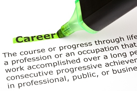 Definition of the word Career highlighted in green with felt tip pen Stock Photo - 16798099