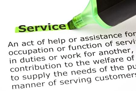 definicion: Definición del Servicio palabra, resaltado en verde, con rotulador