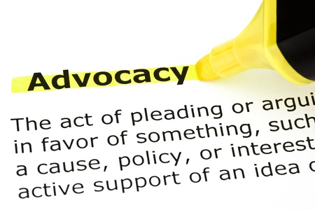 Definition of Advocacy highlighted with yellow felt tip pen Stock Photo - 16899320