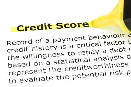 bank records: Definition of Credit Score highlighted in yellow with felt tip pen