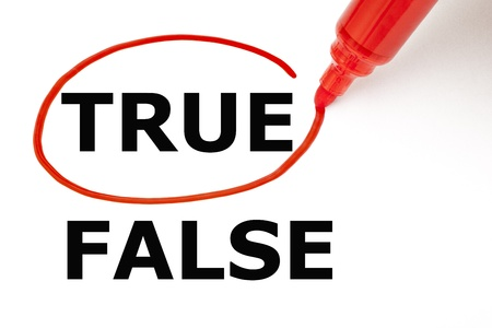 Choosing True instead of False. True selected with red marker. Stock Photo