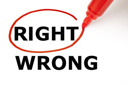 confirm confirmation: Choosing Right instead of Wrong. Right selected with red marker.
