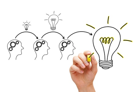 adds: Teamwork builds big idea. If everybody gives a little, it adds up. Stock Photo