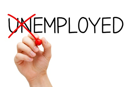 unemployed: Find a new job. Hand turning the word Unemployed into Employed with red marker isolated on white. Stock Photo