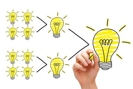 sinergia: Trabajo en equipo concepto. El proceso de la evolución de una idea. Cuando todo el mundo le da un poco, se van sumando. Foto de archivo