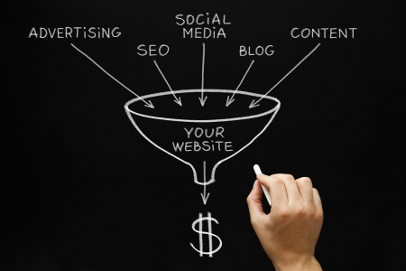 network marketing: Dibujo a mano Website Marketing concepto con tiza blanca sobre pizarra. Foto de archivo