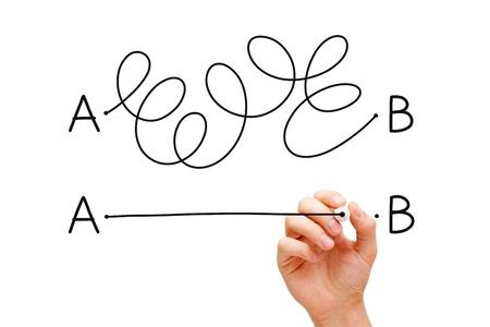confundido: Mano dibujando un concepto acerca de la importancia de encontrar el camino m�s corto para pasar del punto A al punto B, o la b�squeda de una soluci�n simple a un problema. Foto de archivo