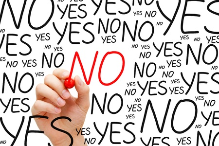 Hand writing No with red marker on transparent wipe board. Stock Photo - 17543157