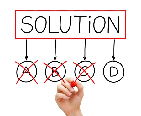 Moving to the last available plan D to solve a problem. Hand drawing Solution diagram with A B C D options. Stock Photo - 17668099