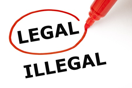 Choosing Legal instead of Illegal. Legal selected with red marker. Stock Photo - 17668103