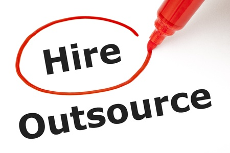 Choosing to Hire instead of Outsource. Hire selected with red marker. Stock Photo - 17842287