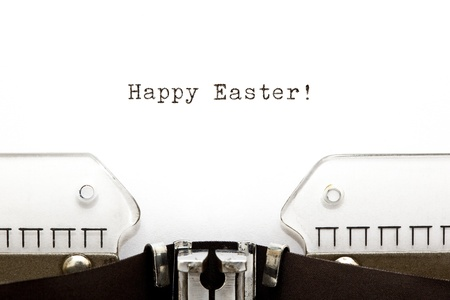 Happy Easter greeting printed on an old typewriter. Stock Photo - 17842290