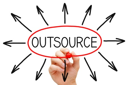 out of production: Hand drawing Outsourcing concept with red marker on transparent wipe board. Stock Photo