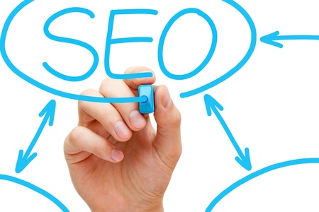 backlink: Hand drawing SEO flow chart with blue marker on transparent wipe board.