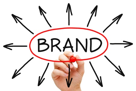 brand label: Hand drawing Brand concept with red marker on transparent wipe board