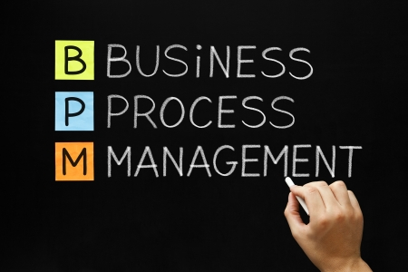 bpm: Hand writing Business Process Management with white chalk on a blackboard.