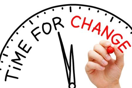 change concept: Hand Time escrito por concepto de cambio con marcador rojo sobre transparente limpiar bordo.