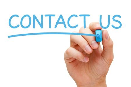 contact info: La scrittura a mano Contattaci con pennarello blu a bordo pulire trasparente.