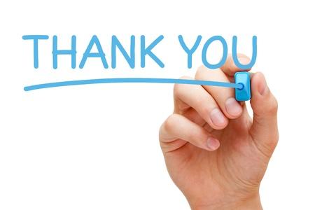 dank u: Hand schrijven dank u met blauwe markering op transparante veeg boord. Stockfoto