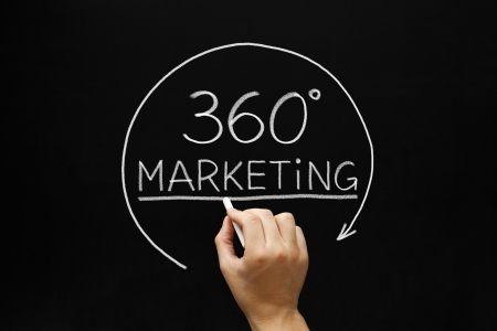Hand sketching 360 degrees Marketing concept with white chalk on a blackboard. Stock Photo - 18959336