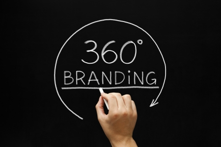 campaigns: Hand sketching 360 degrees Branding concept with white chalk on a blackboard.  Stock Photo